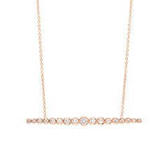 Zoë Chicco 14kt Rose Gold Horizontal Graduated White Diamond Bar Necklace
