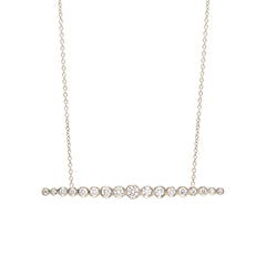 Zoë Chicco 14kt White Gold Horizontal Graduated White Diamond Bar Necklace