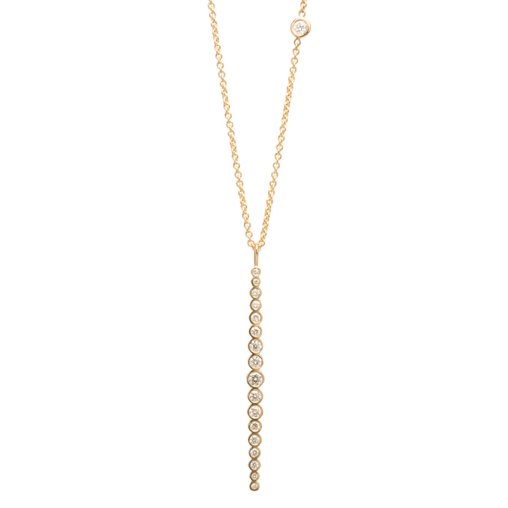 14k vertical graduated diamond bar necklace