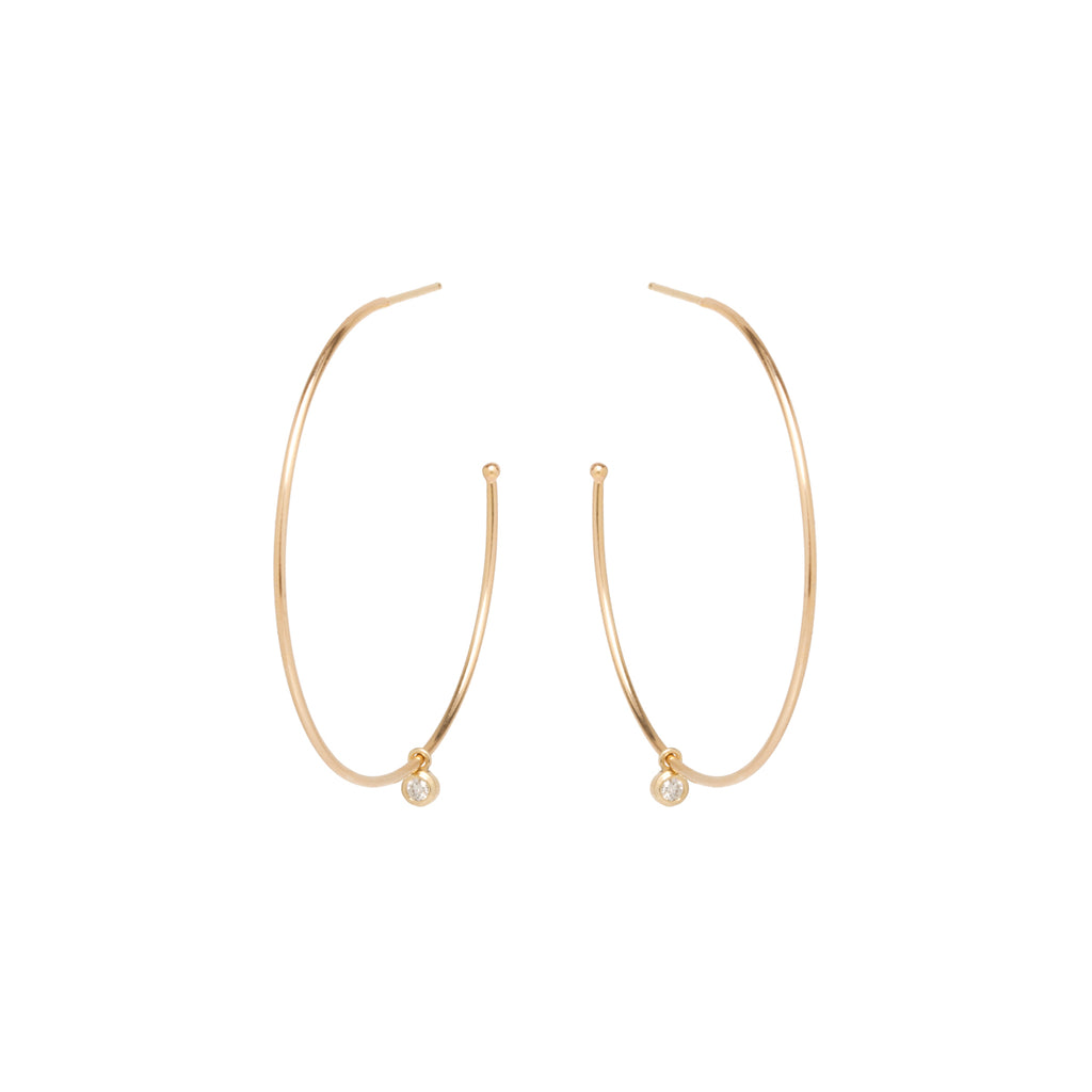 Zoë Chicco 14kt Yellow Gold Dangling White Diamond Large Hoop Earrings