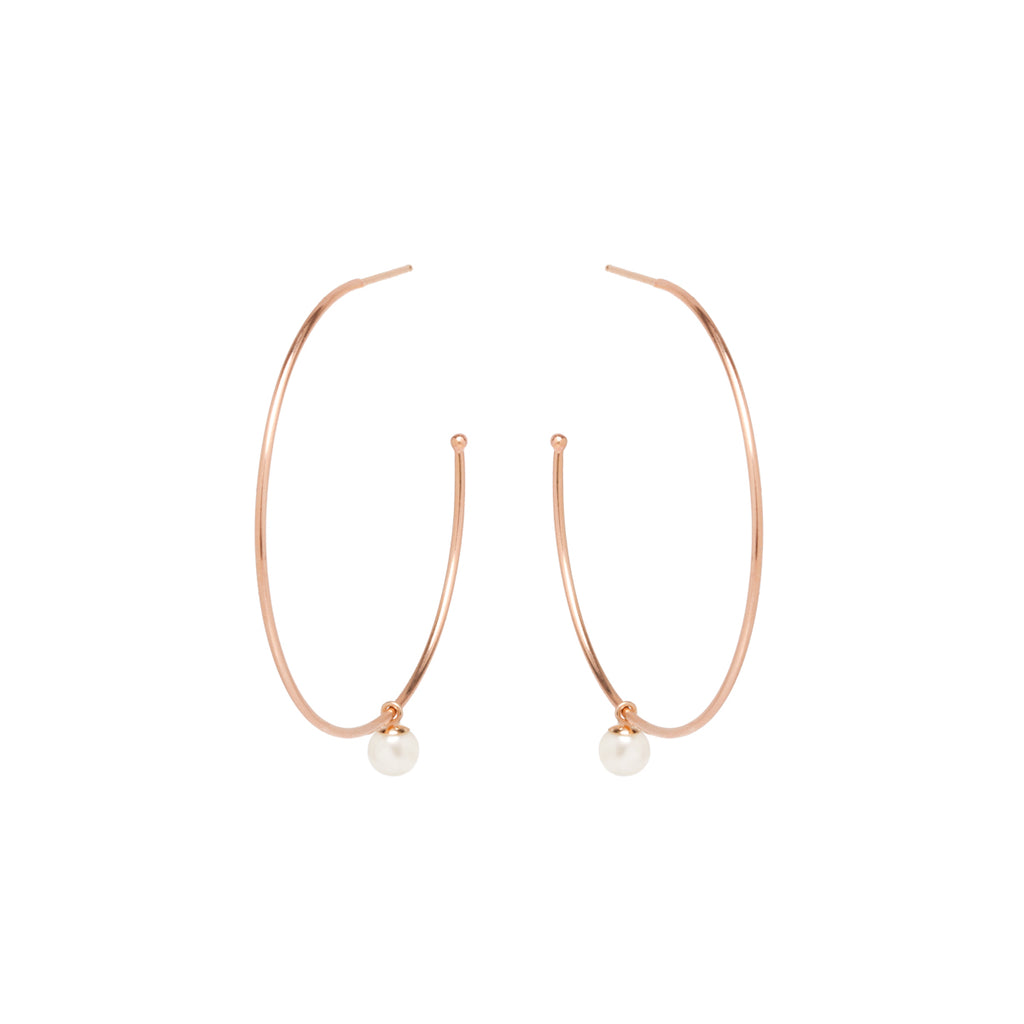 Zoë Chicco 14kt Yellow Gold Dangling Pearl Large Hoop Earrings