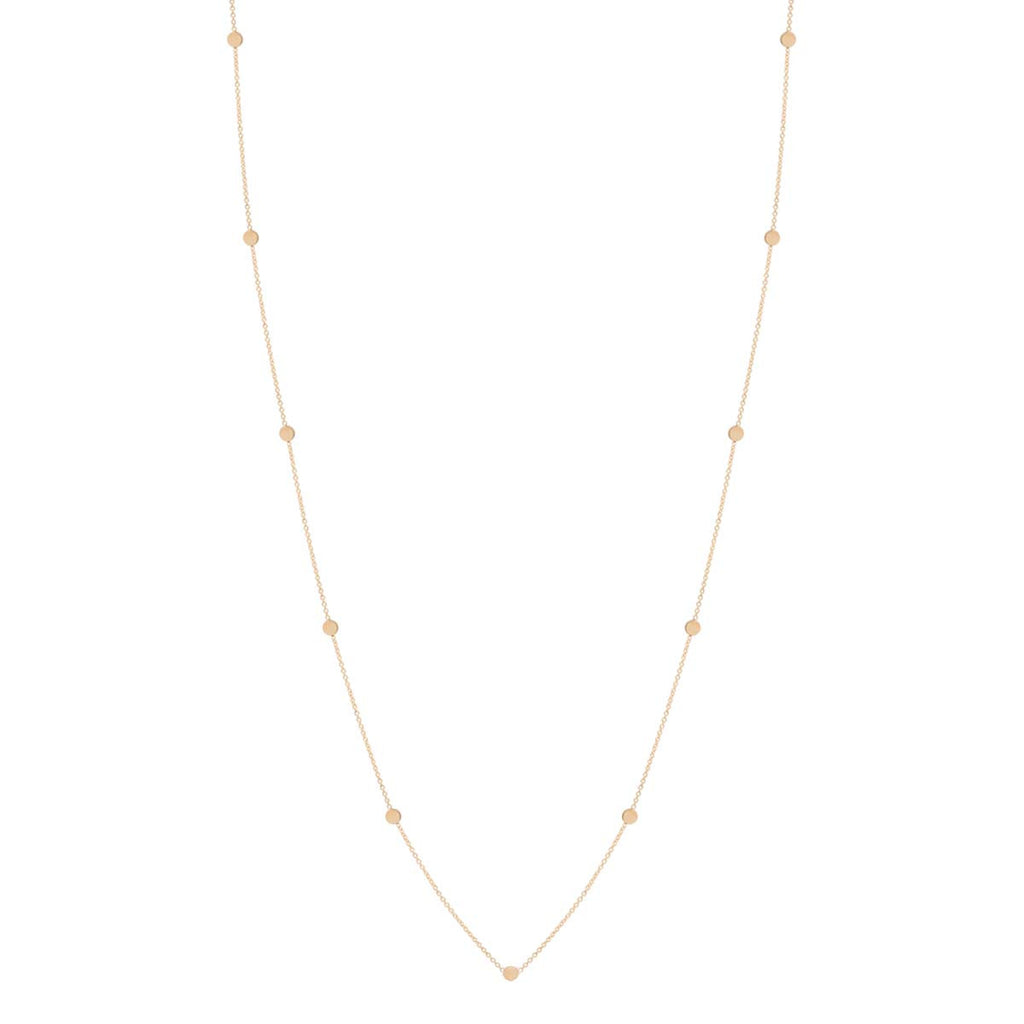 14k itty bitty round disc long necklace