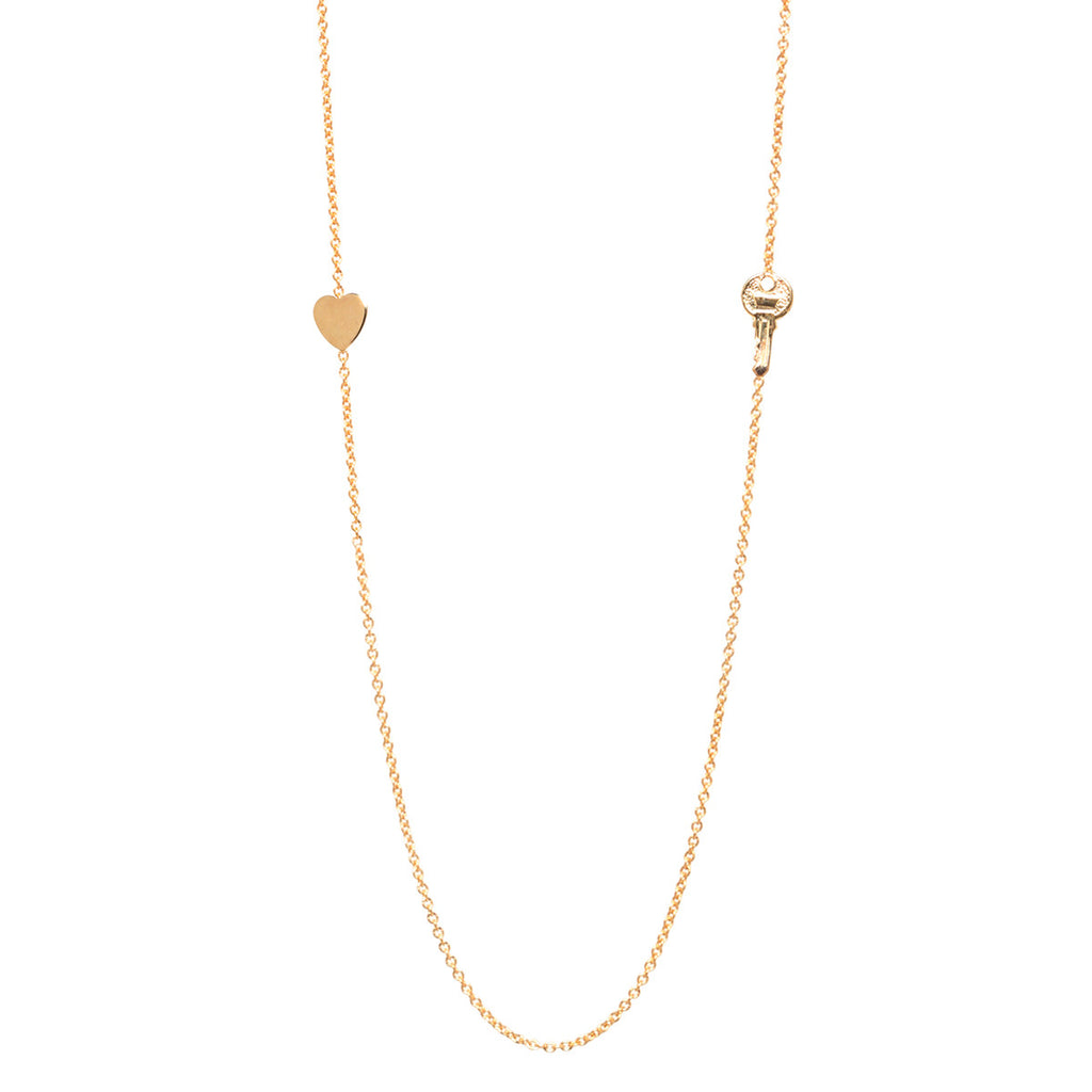 14k long heart & key necklace