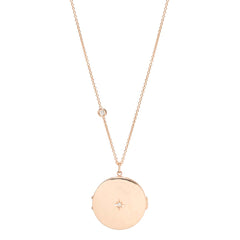 14k star set diamond round locket necklace
