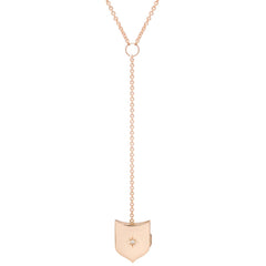 14k star set diamond shield locket lariat necklace