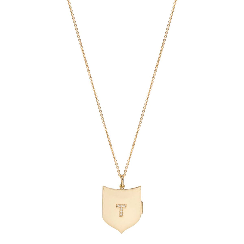 14k pave initial shield locket necklace