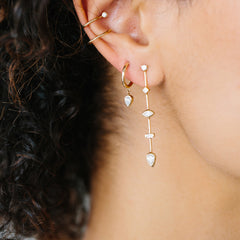 14k long bar mixed diamond earrings