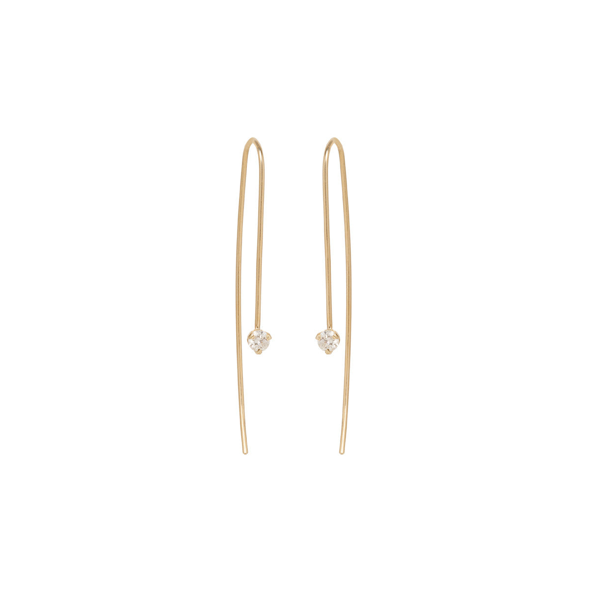 14k diamond prong set wire earrings