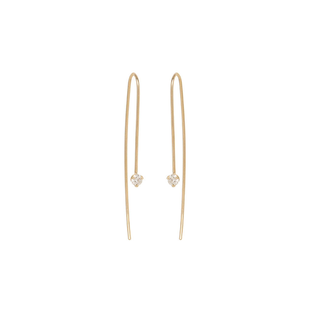 Zoë Chicco 14kt Yellow Gold White Diamond Prong Set Wire Earrings