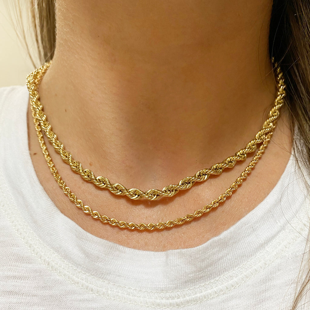 14k medium rope chain necklace