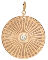 14k large sunbeam medallion disc charm with spring ring