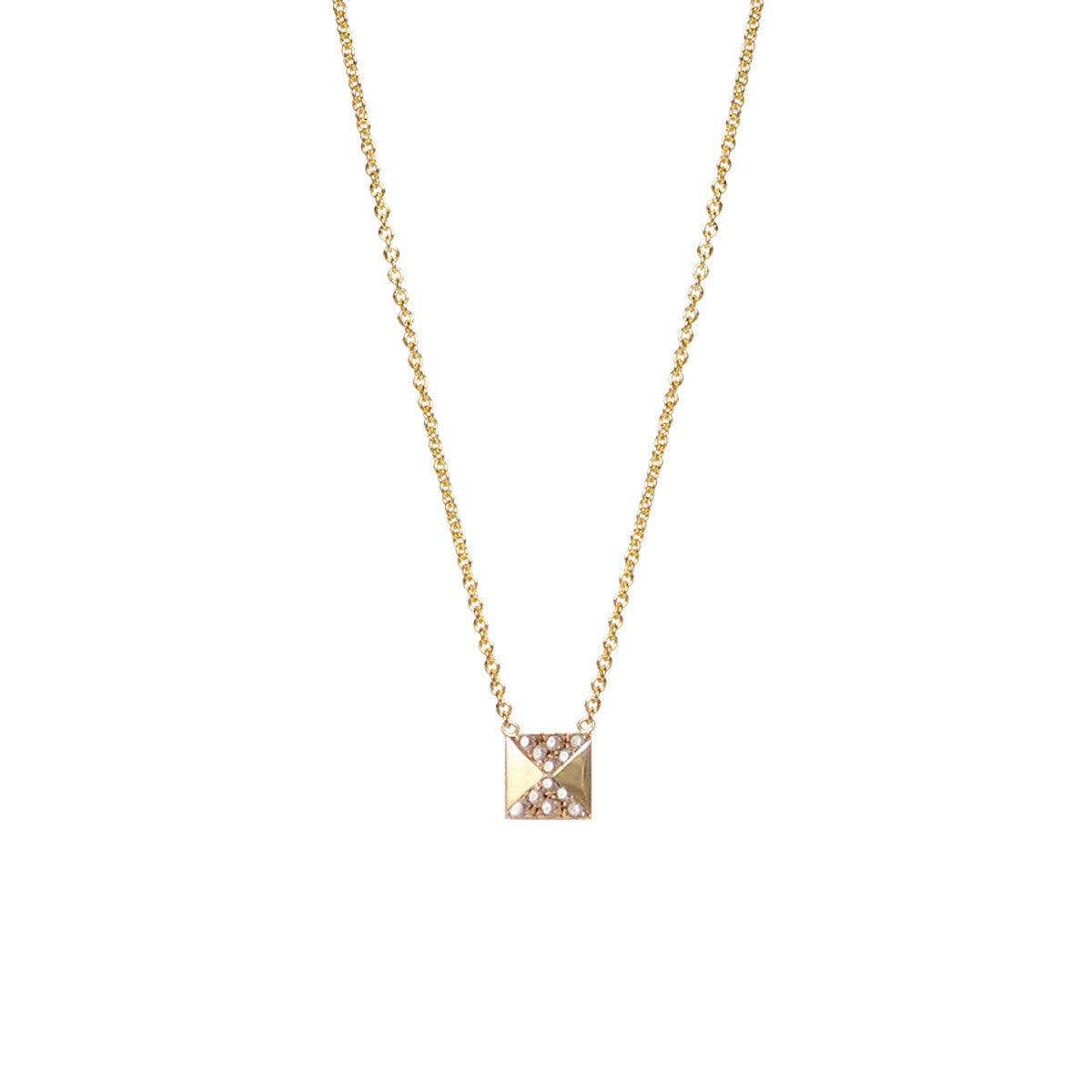 14k pave single spike necklace