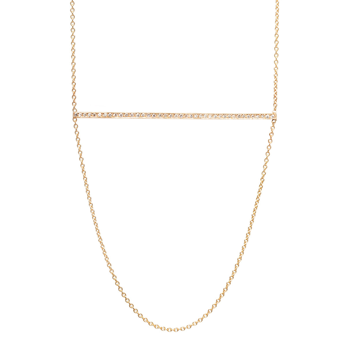 14k pave bar and chain necklace
