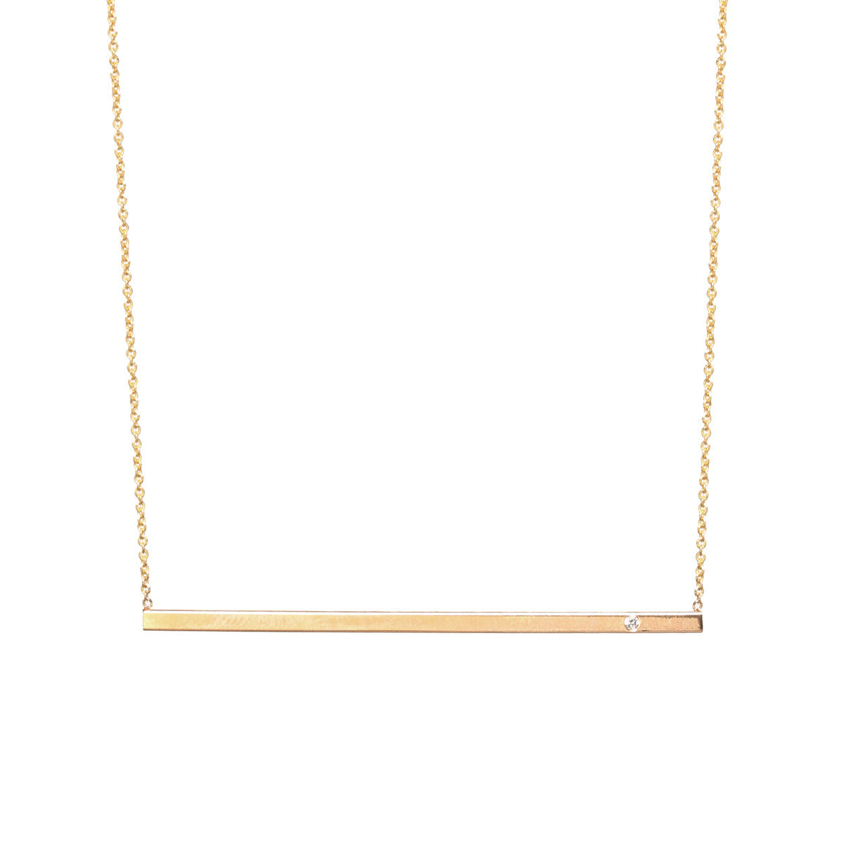 14k long diamond bar necklace