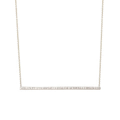 14k pave long thin bar necklace