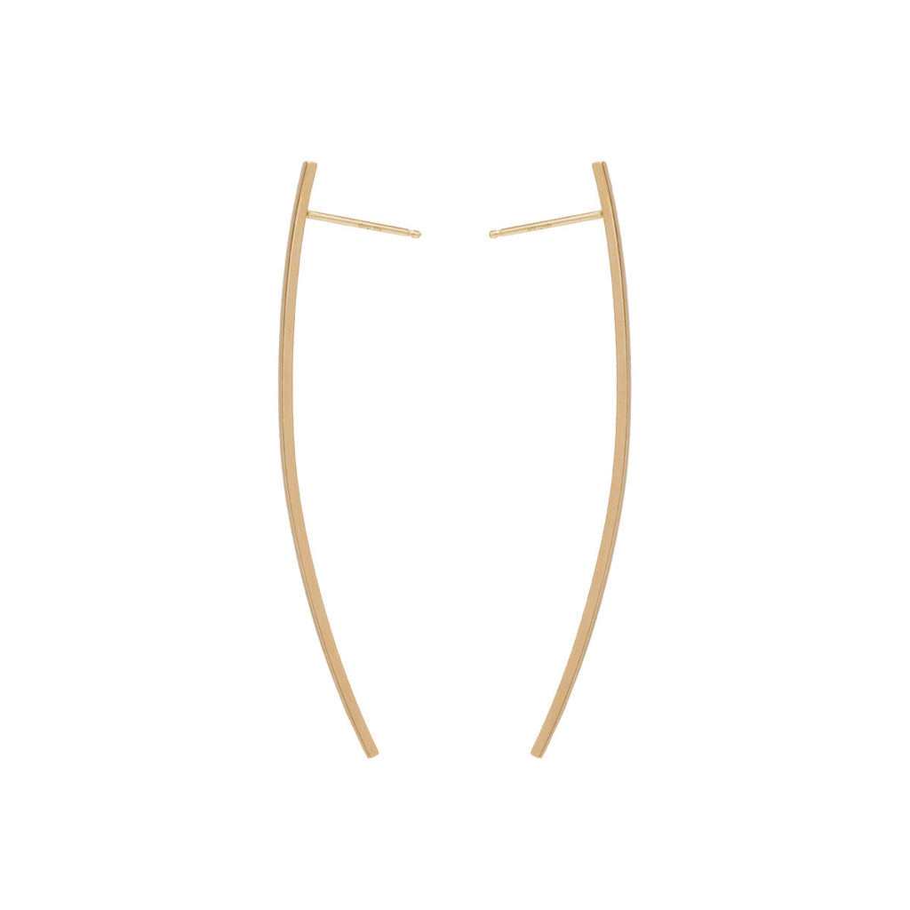 14k long curved thin bar post earrings