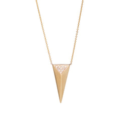 14k pave long pyramid necklace