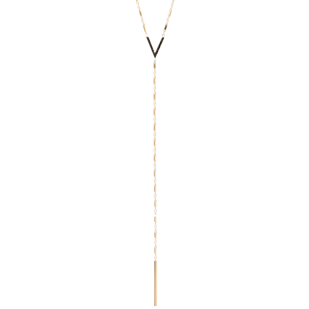 14k mixed pave V long lariat necklace