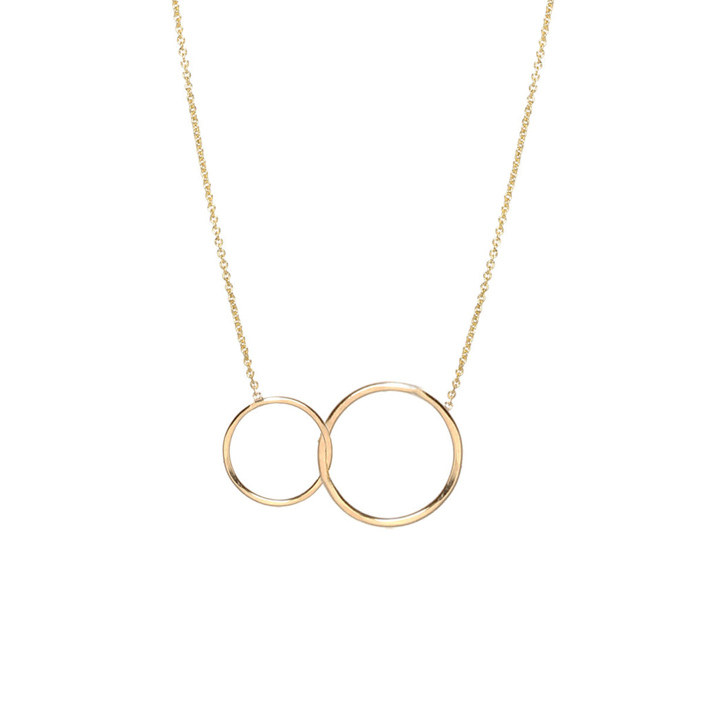 14k mixed circles necklace
