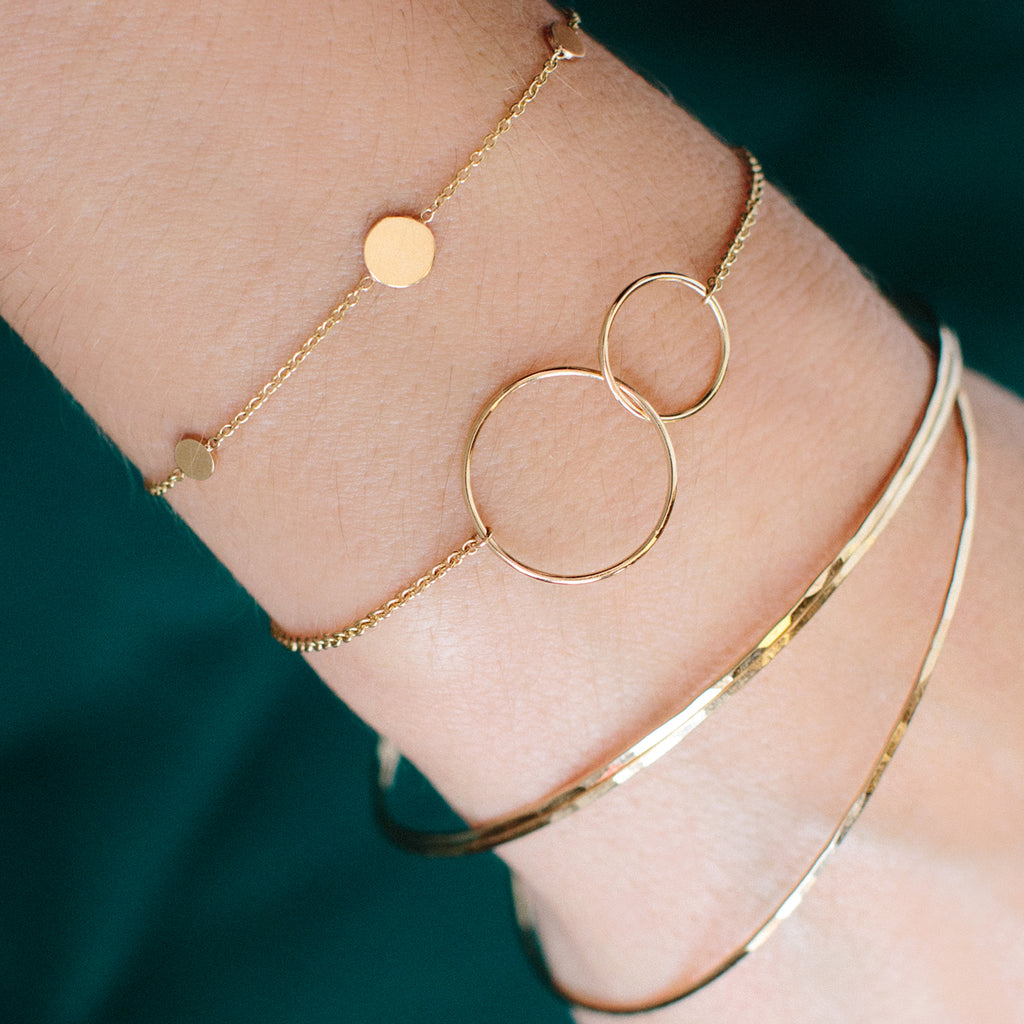 14k mixed circles bracelet