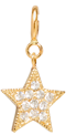 14k midi bitty pave diamond star charm pendant with spring ring