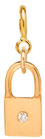 14k midi bitty diamond padlock charm pendant with spring ring