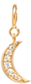 14k midi bitty pave diamond moon charm pendant with spring ring