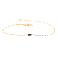 14k small black diamond baguette bracelet