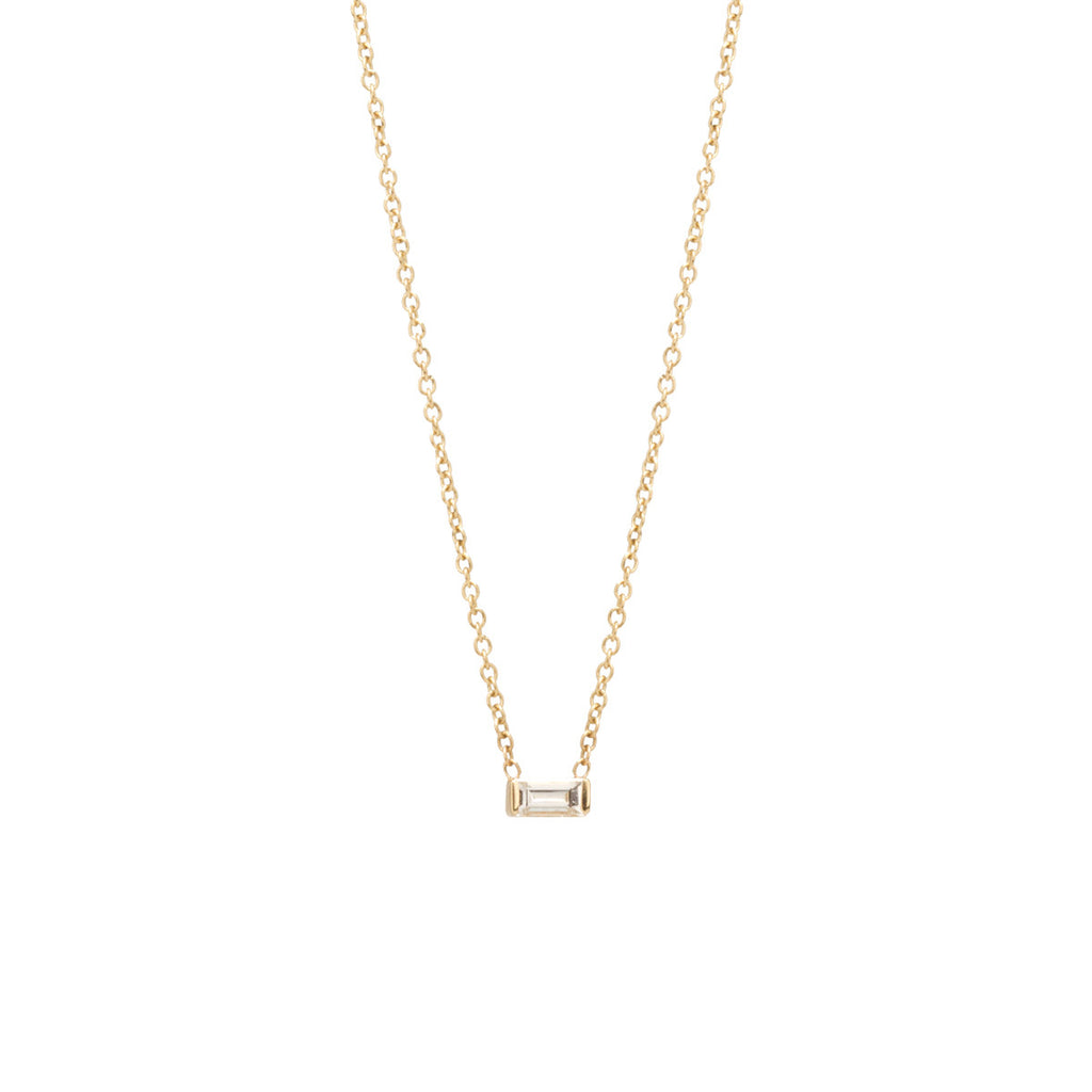 Zoë Chicco 14kt Yellow Gold White Diamond Baguette Necklace