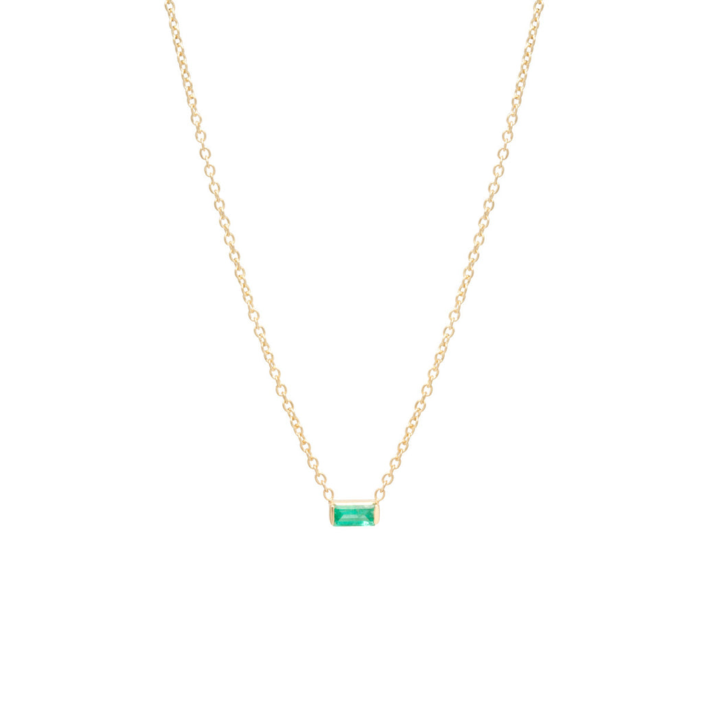 Zoë Chicco 14kt Yellow Gold Emerald Baguette Necklace