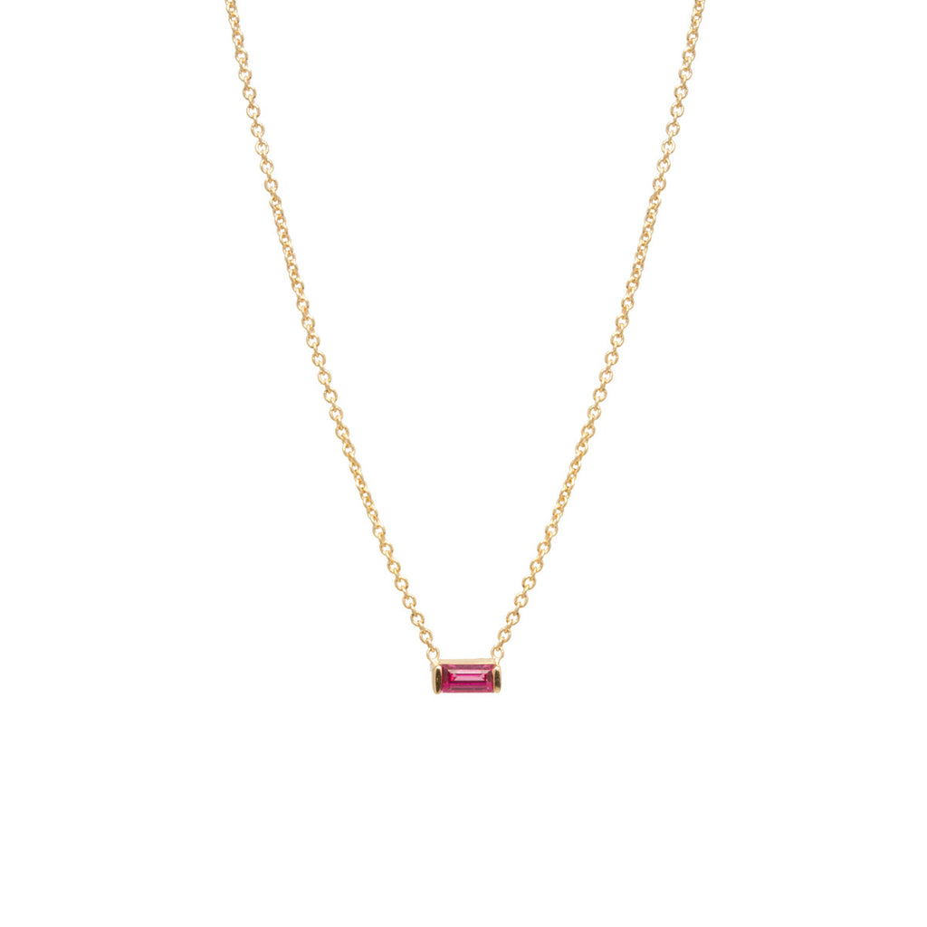 14k ruby baguette necklace | July Birthstone