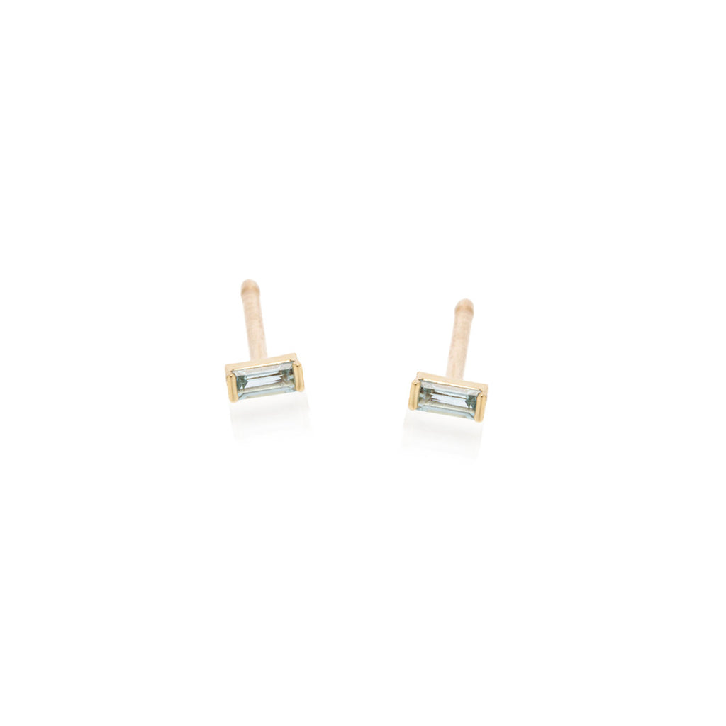 Zoë Chicco 14kt Yellow Gold Aquamarine Baguette Stud Earrings