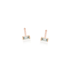 Zoë Chicco 14kt Rose Gold Aquamarine Baguette Stud Earrings