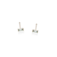 Zoë Chicco 14kt White Gold Aquamarine Baguette Stud Earrings
