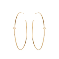 Zoë Chicco 14kt Yellow Gold White Diamond Center Medium Thin Hoop Earrings