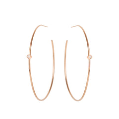 Zoë Chicco 14kt Rose Gold White Diamond Center Medium Thin Hoop Earrings