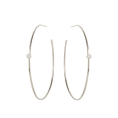 Zoë Chicco 14kt White Gold White Diamond Center Medium Thin Hoop Earrings