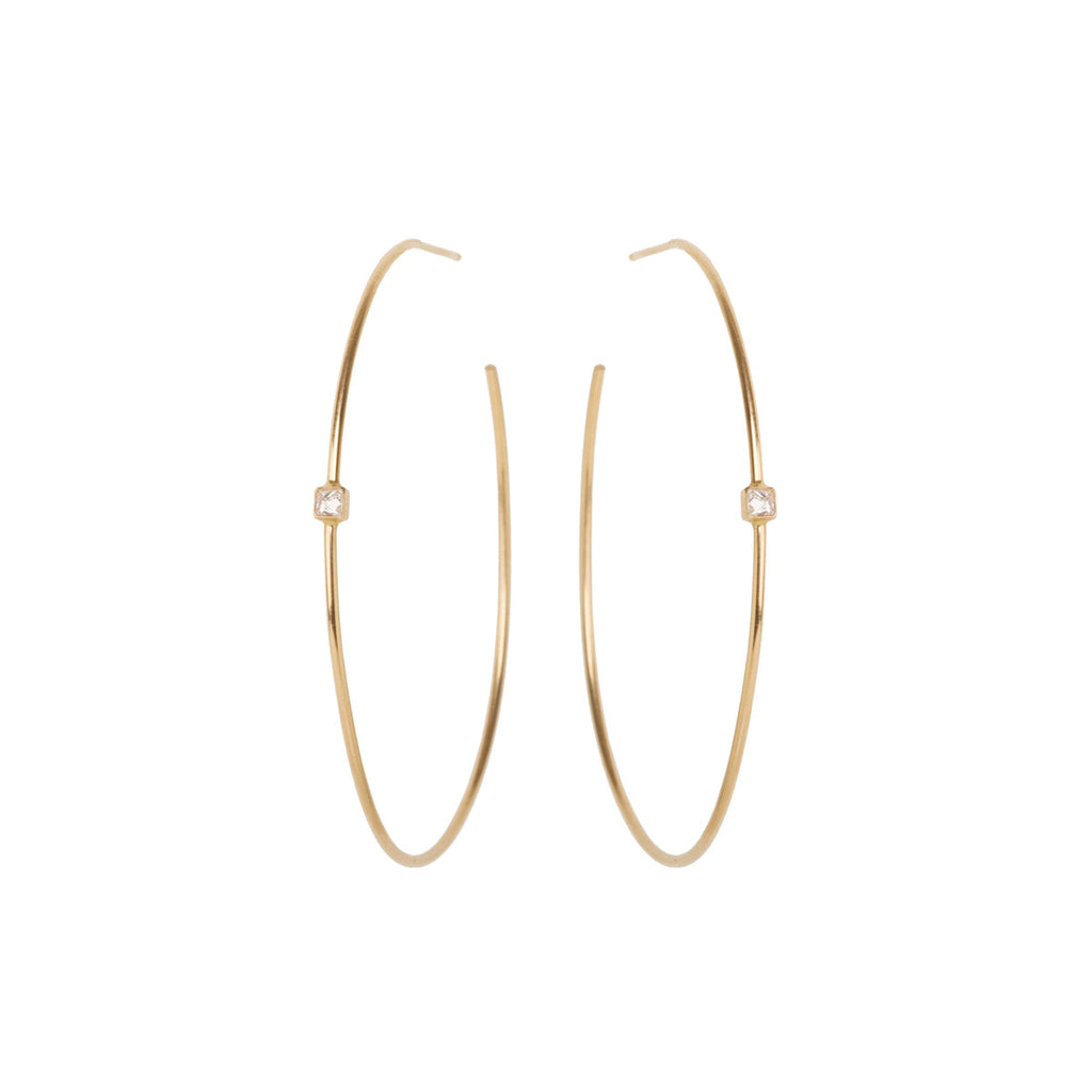 14k single diamond spike hoops
