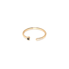 Zoë Chicco 14kt Yellow Gold Black and White Mixed Open Ring