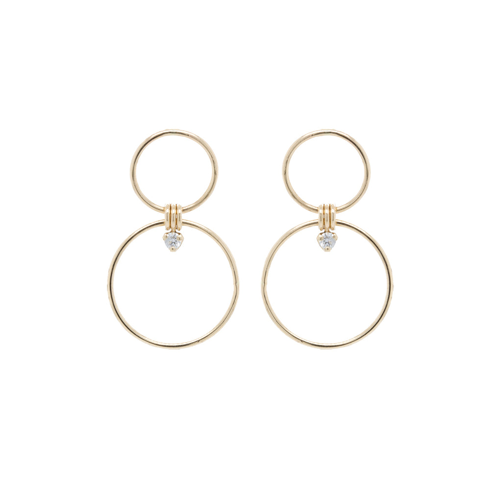 14k prong diamond mixed circle earrings