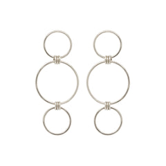 14k mixed triple circle earrings