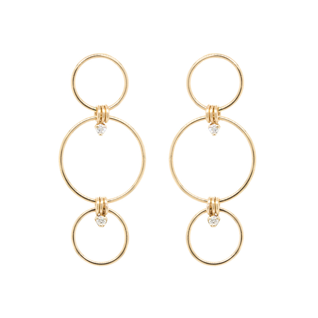 14k Prong diamond mixed triple circle earrings