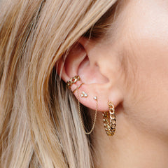 14k medium curb chain ear cuff