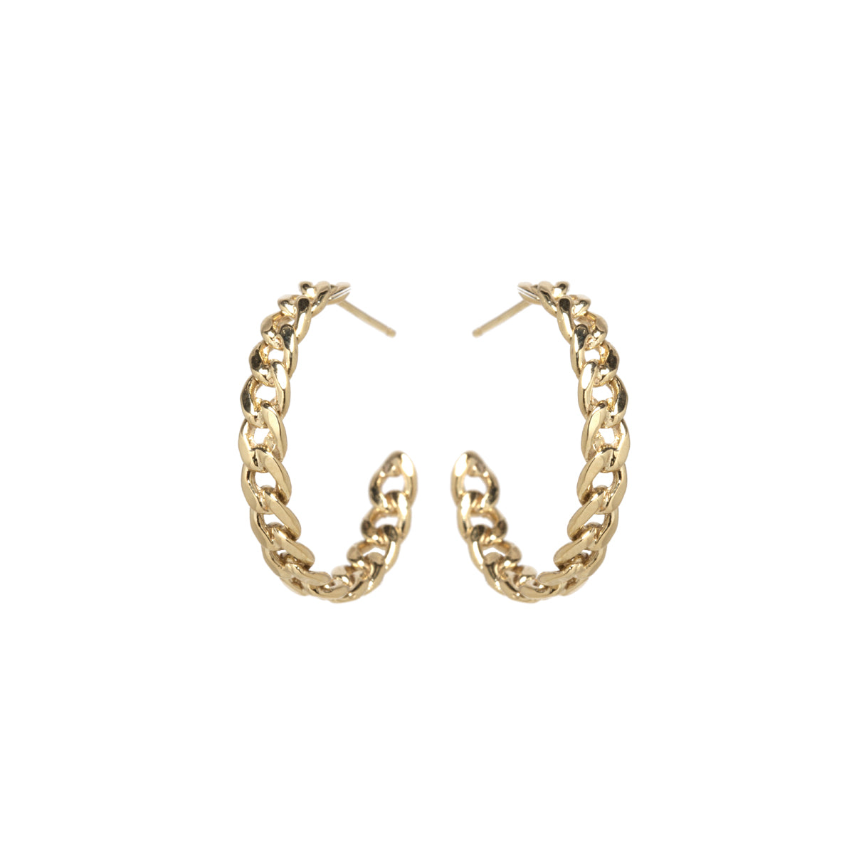 14k medium curb chain hoops