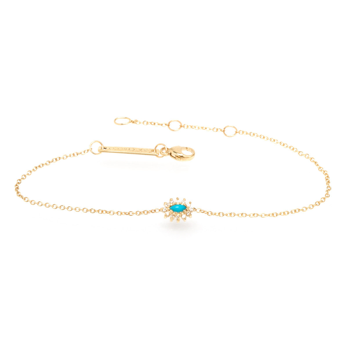 14k turquoise and diamond cluster bracelet