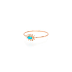 14k turquoise & diamond cluster ring
