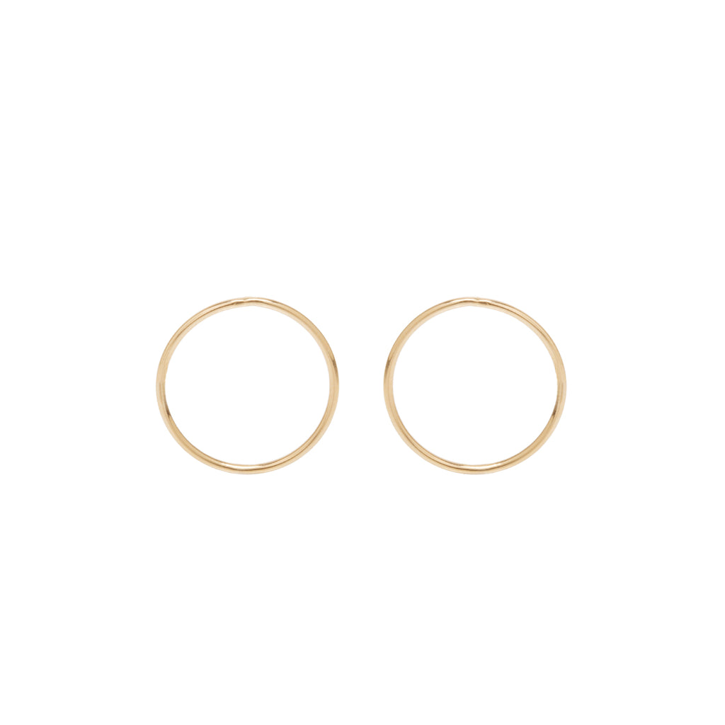 14k medium circle post earrings