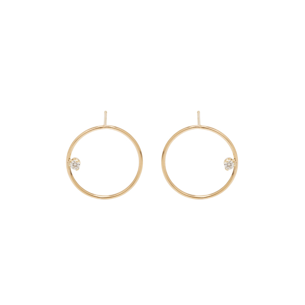 14k medium circle post earrings with prong set diamonds