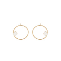 14k medium circle post earrings with pearls