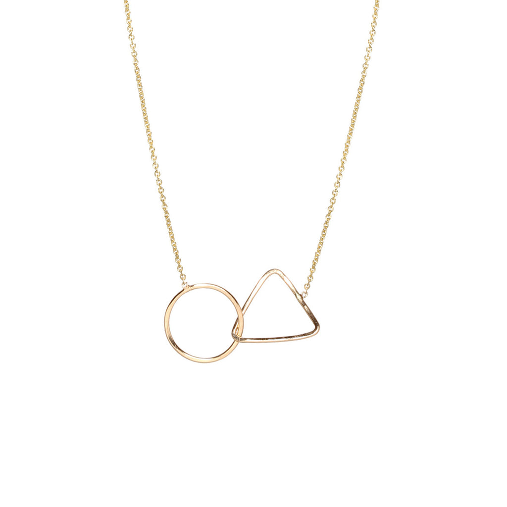 14k mixed interlocked shape necklace